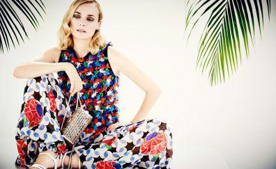 Diane Kruger, colorful dress, blonde, actress