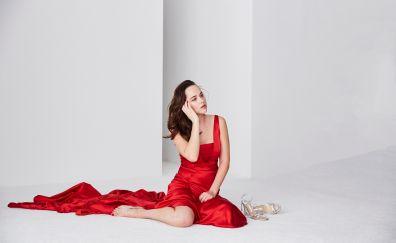 Dakota Johnson, celebrity, red dress, sit, 4k, 2017