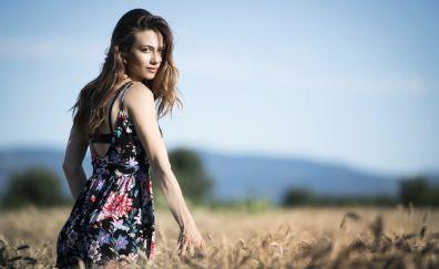 Outdoor, girl model, looking back, meadow