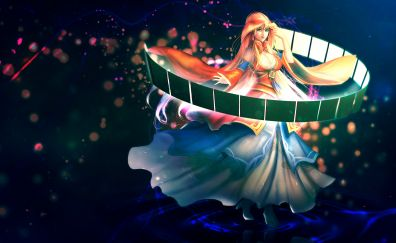 Long hair, blonde girl, dance, fantasy