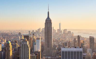 New york, city, buildings, sunny day, 4k
