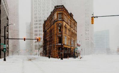 Detroit, city, buildings, traffic lights, winter