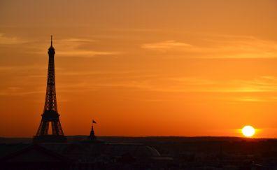 Sunset, Eiffel tower, paris city, 4k