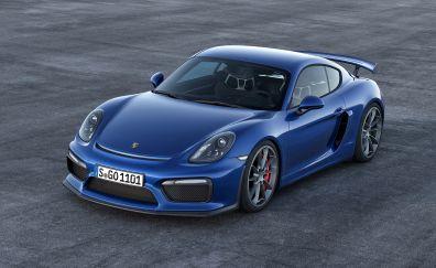 Blue, Porsche Cayman GT4, sports car, front view