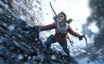 Rise of the Tomb Raider, lara croft, video game, climbing