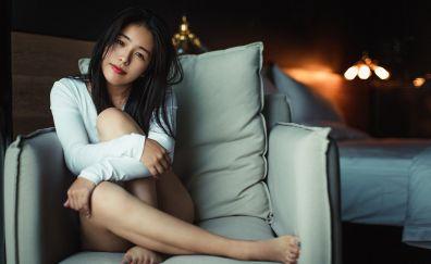 Beautiful, asian, girl model, sit, sofa
