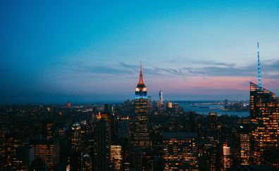 New york, Empire State building, buildings, skyscrapers, night, city, 5k