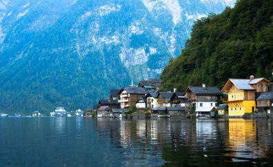 Hallstatt, town, lake, apartments, mountains