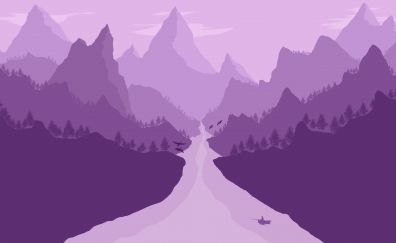 Minimalism, river, mountains landscape, 4k
