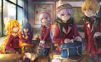 Class room, original, friends, anime girls, 5k
