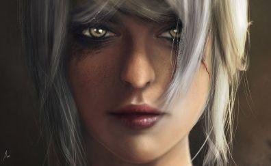 The witcher 3: wild hunt, video game, girl warrior, ciri, face, art