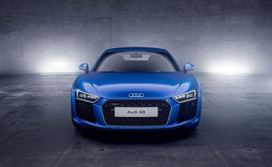 Audi R8, blue, sports, front view, 4k