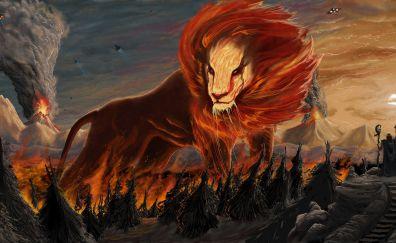 Lion, fire flames, fantasy, beast, art, 10k