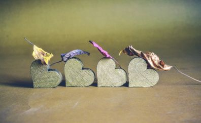 Wooden heart and leaves