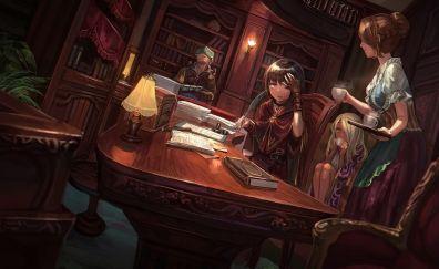 Library, art, anime girls
