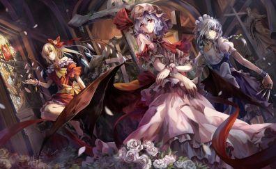 Sakuya Izayoi, Remilia Scarlet, Flandre scarlet, Touhou, anime girls