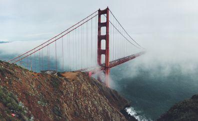 Golden gate bridge, clouds, architecture, bridge, 5k