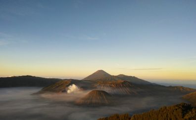 Aerial view, Mount Bromo, volcano, mountains