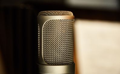 Golden microphone, close up