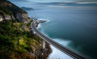 Coastal lines, roads, bridge, sea, aerial view