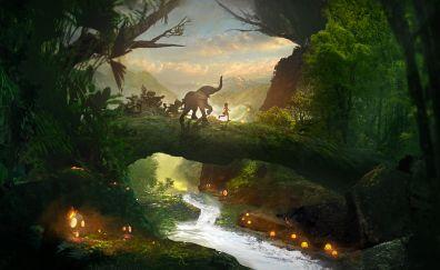 Forest, river, stream, playtime, fantasy, elephant