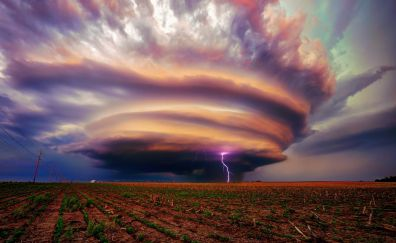 Storm, clouds, landscape, nature, lightning