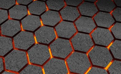 Pattern, abstract, glowing hexagons, 4k