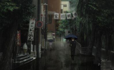 Rain, walk, anime boy, Hyouka