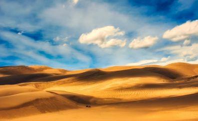 Blue sky, desert, dunes, nature