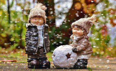 Play, snowfall, winter, figure, toys