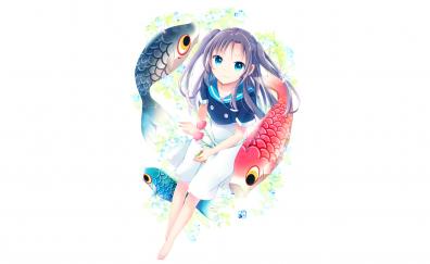 Fishes, cute, anime girl, original, minimal