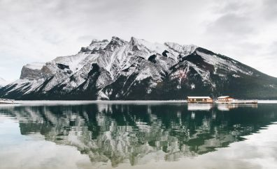 Reflections, mountains, cottage, lake, 4k