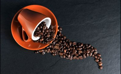 Coffee beans, cup, beans, 4k