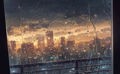 Window glass, surface, water drops, anime, city