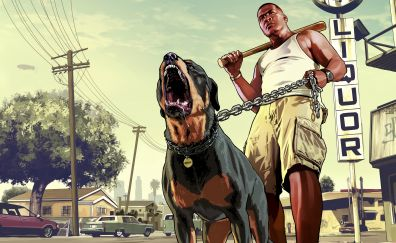 Grand Theft Auto V, franklin with chop, rottweiler, video game, 8k
