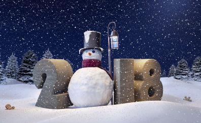 2018, happy new year, snowman, winter, snowfall, 4k