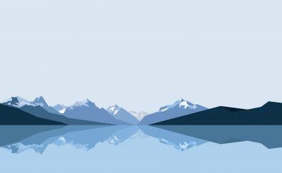 Minimal, blue, mountains, reflections, lake, 8k