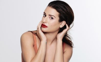 Lea Michele, makeup, red lips, face