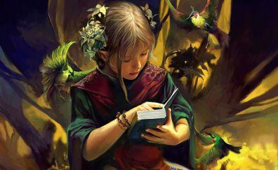 Fantasy, cute girl, reading, book, art