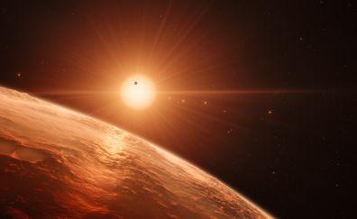 TRAPPIST-1, star, planet, space, 4k, 8k