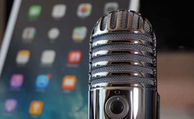 Silver microphone, close up