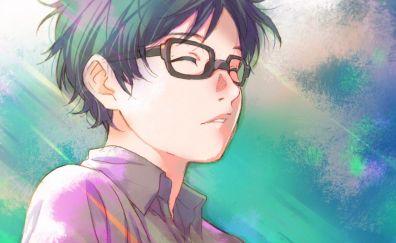 Kousei Arima, Shigatsu wa Kimi no Uso, anime boy, glasses, face