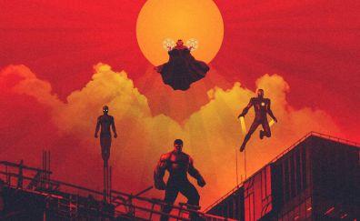 Avengers: infinity war, hulk, Doctor Strange, iron man, spider man, 2018 movie, artwork