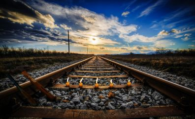 Take me home, railway track, landscape, candles