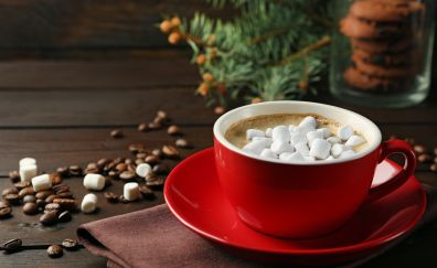 Marshmellow, coffee beans, cup