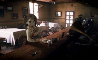 Tsukiko Tsutsukakushi, Henneko, anime girl in restaurant