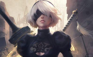 Nier: Automata video game, girl warrior