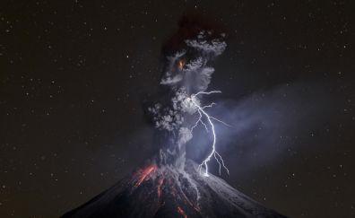 Volcano eruption in night