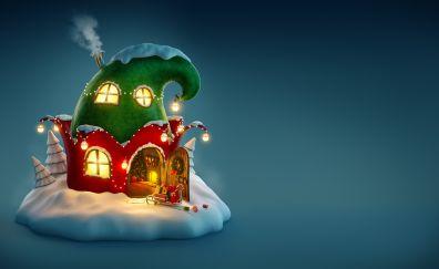 Christmas, fairy house, fantasy, house, 4k