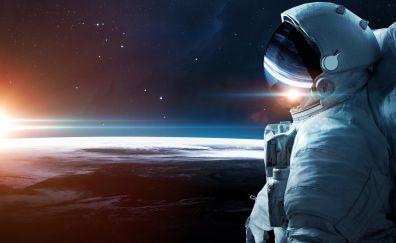 Astronaut, stars, space, planet, sunrise